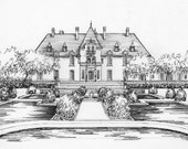 Wedding Venue Portrait - Custom Drawing in Ink - house sketch - artwork for personalized wedding stationery notecards invitations