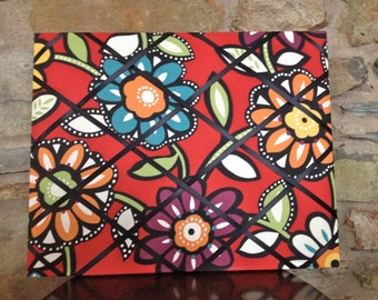 French Memo Board - 16x20 Retro Flowers