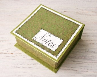 Note Box notepaper storage green / recycled notepad / office note / green desk accessory / notepaper / to do list / teacher gift