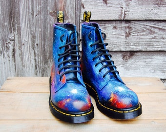 SUMMER SALE! Galaxy Cosmic Mixed Colour Print Doc Dr Martens. Hand Painted . Made to order. Any size
