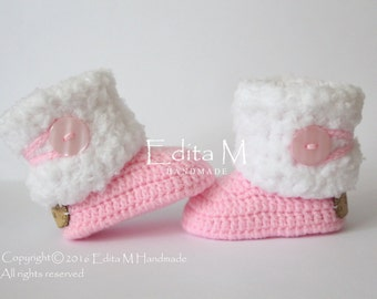 Crochet baby booties, baby shoes, baby girl shoes, pink, white, winter boots, baby shower gift, 6-9 months, gift idea, fur baby shoes