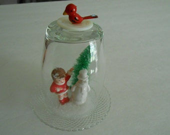 vintage upcycled cloche dome with Christmas holiday snowman tree display decor