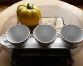 Vintage French Farmhouse Culinary Deep Food Prep, Condiments Serving Ruffle Cups and Tray Set 'REVOL' Natural Porcelaine, Made in France