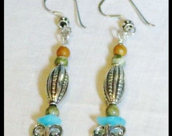 Earrings: Drop/Dangle - blue, green brown, sterling silver. Gemstone and Silver. Matching necklace. One of a Kind Handmade Exclusive Jewelry