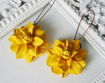 Yellow rose leather earrings