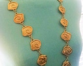 Necklace Long Handmade Vintage Assembly  Large Gold Roses Heavy Thick Linked Runway Statement Piece Exotic Unique Bohemian Chic