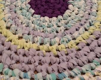 Crochet Rag Rug Cottage Shabby Chic Lavender Garden Textile Art Eco Friendly Nursery Kitchen Pet