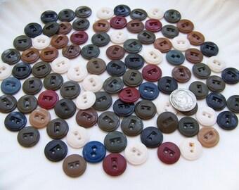 "Lot of 100 Vintage Older Plastic Work Clothes Buttons 1/2"""