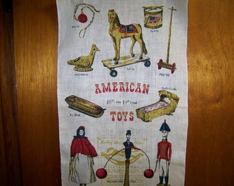 Vintage Unused Linen Tea Towel American Toys 18th & 19th Century