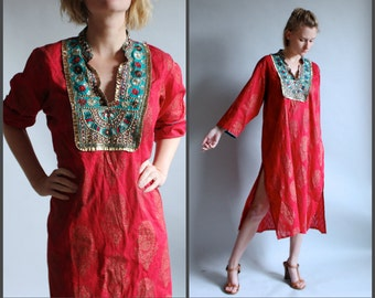 Indian Shisha Embroidered Cotton Shift Tunic Dress Midi Tent