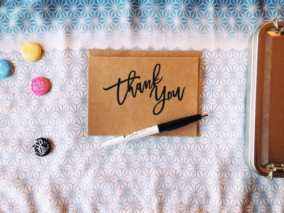 Thank You Card / Single A2 Card - Risograph Printed on Kraft Paper with Envelope
