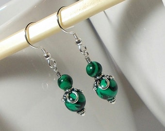 Green And Black Melakite Stone With Sterling Silver Dangle Earring Green Stone Earring Melakite Stone Earring Sterling Silver Earring