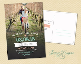 Wedding Photo Save the Date Card - Custom Typography - Mint and Blush Pink - Postcard Save the Date - Save the Date - Wedding