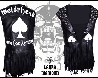 Laura Diamond Motörhead one for Lemmy faux leather fringe black vest
