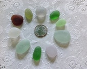"Chunky Thick ""Jelly Beans"" Genuine Beach Sea Glass Beautiful Colors Jewelry quality flawless surf-tumbled nicely shaped"
