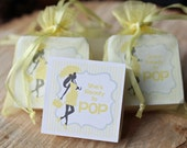 Soap Favors, Baby Shower Favors, She's about to pop soap favors, yellow and white baby shower Set of 16 favors
