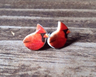 Cardinal earrings jewelry bird red bird lover bird watcher birder