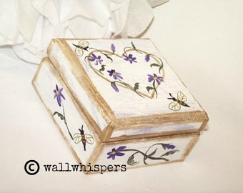 Violets Honeybees March Birthday Wedding Anniversary Jewelry Gift Box February Trends Handpainted Jewelry Box Purple White Gold Bees Flowers