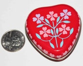 1988 Heart Shaped Red Floral Tin Mini Messages in a Tin - love notes Retro Paper notes