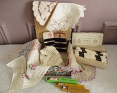 Antique french sewing box, Vintage, DMC, Cotton, Crochet, Lace, Doily, 1940, France, Boite couture