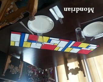Quilt Pattern, Mondrian Table Runner, Primary Colors, Modern