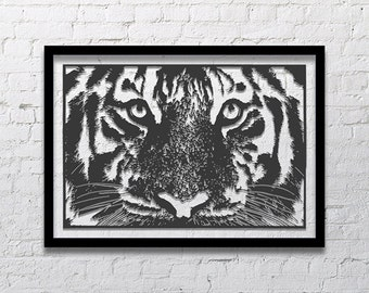 Large Wall Art, Tiger Art, Original Art, Luxury Wall Decor Living Room, Monochrome Art Abstract, Black and White Wall Art, Minimalist Art
