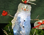 Painted Snowman Glass Light Centerpiece, Hand Made Snowman Decoration, OFG Team