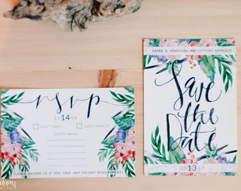 Custom Watercolor Wedding Invitation set