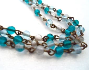Vintage Multi Strand Aqua Blue and Clear Crystal Bead Necklace Three Strand Necklace Vintage Crystal Necklace