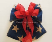 Red Navy Stars Burlap Bow Rustic 4th of July Burlap Bow Red Navy Patriotic Burlap Wreath Bow Captain America birthday Decoration
