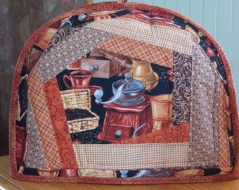 Handmade quilted toaster cover 2 slice rust, copper, browns, coffee beans, grinder, swirls, kitchen appliance, housewares, reversible