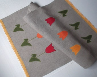 Linen tea towel with lace and tulips Spring decor linen kitchen towel natural gray dish towel