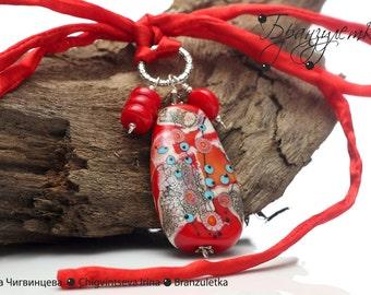 Solar Serenade - pendant lampwork bead murrini red blue gray - silk cord - coral