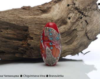 Luxury - 1 pc Bead lampwork - focal artisan glass beads - red gray silver - oval shape