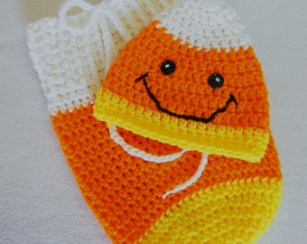 Crochet Newborn Candy Corn Swaddle Sack and Hat