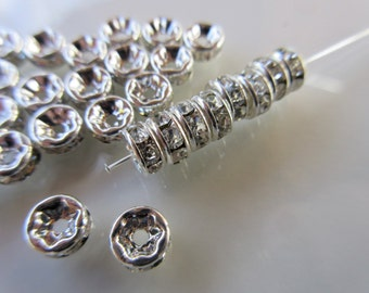 20pc Clear Czech Crystal Rhinestone rondelle spacer beads 6mm jewelry finding silver tone plated brass (R123)