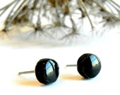 Little Black Ceramic Earrings Small Stud  Pottery Surgical Steel Post
