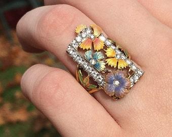 Masriera Flower Ring - Enamel Floral, Diamond Ring in 18k Yellow Gold - Masriera of Spain