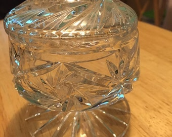 Covered Cut Glass Pedestal Dish
