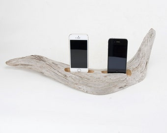 Docking Station for 2 iPhones, iPhone dock, iPhone Charger, iPhone Charging Station, driftwood dock, wood iPhone dock/ Driftwood-No. 907
