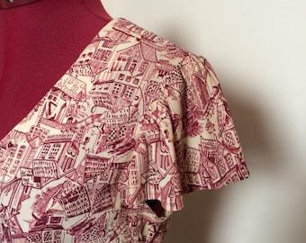 1960s Novelty Village Print Mini dress size s