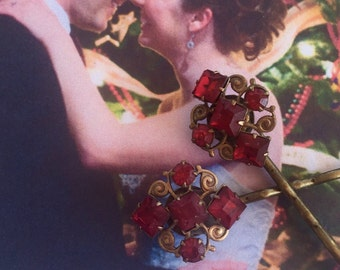Decorative Hair Pins Jewelry 1920 1930's Bohemian Red Ruby Czech Hairpins Bobby Pins