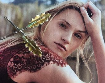 Leaf Leaves Hair Pins Jewelry Woodland Bridal Enamel Rhinestone Bobby Pins, BSK