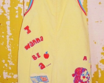 """ON SALE Yellow Corduroy Baby Bib Overalls, Girl, Vintage, """"I Wanna Be A Teacher"""" On Them, Light Yellow, Snap Crotch, Red, Blue"""