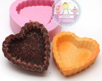 Heart Shaped Tart Base 37mm Bakery Silicone Flexible Push Mold 150L