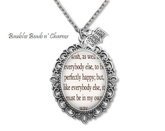 Book Quote Necklace, Jane Austen Necklace, Sense and Sensibility Necklace, Literary Quote Necklace, Literature Jewelry, Classic Novels