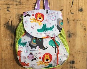 Backpack // Little Kids Backpack // Elephant Giraffe Monkey Lions Toddler Back Pack // Elephants Backpack