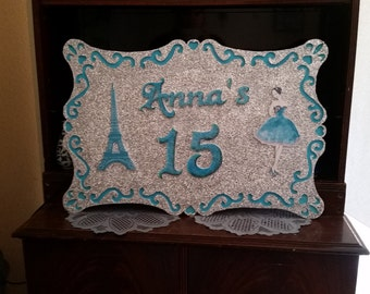 Aqua Turquoise Paris Birthday or any theme or color you want Party Sign Frame