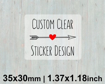 35 x 30mm Rectangle (1.37x1.18 inches) Clear Stickers/Labels for Product Labels, Wedding Seals, Packaging