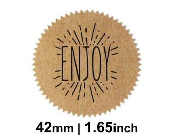 Enjoy Stickers / Labels - Kraft Round Starburst 42mm Circle (1.65 inches) - Pack of 18